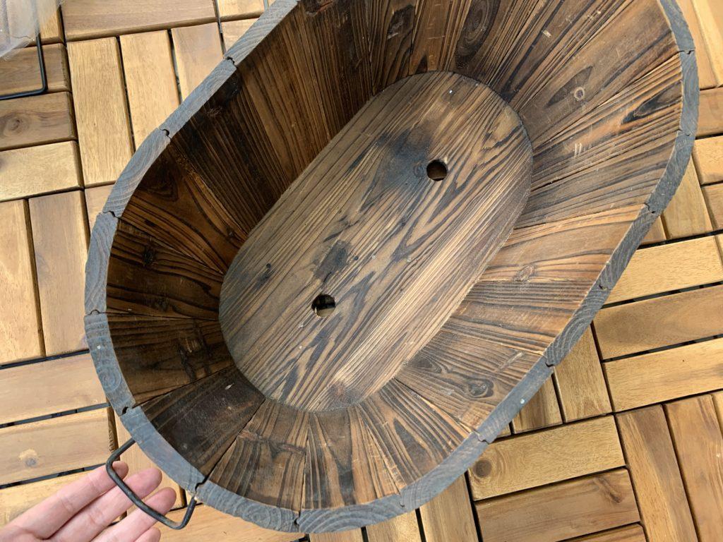 木製バスケットプランターの取っ手