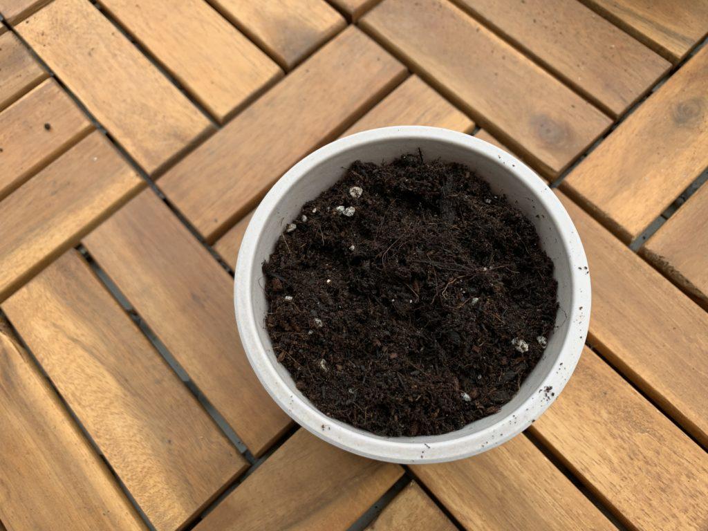 ポットに入れたプロトリーフ花野菜用かる~い培養土