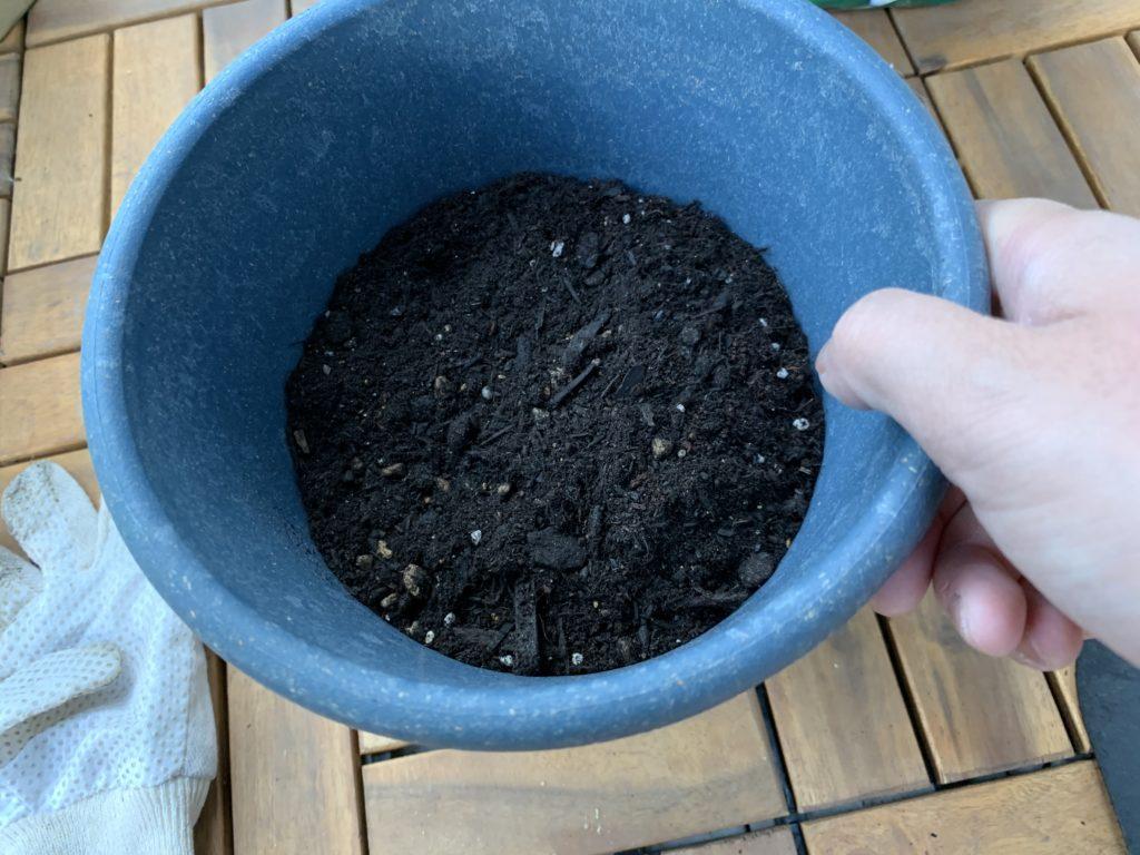 培養土が入ったプランターを手に持つ様子