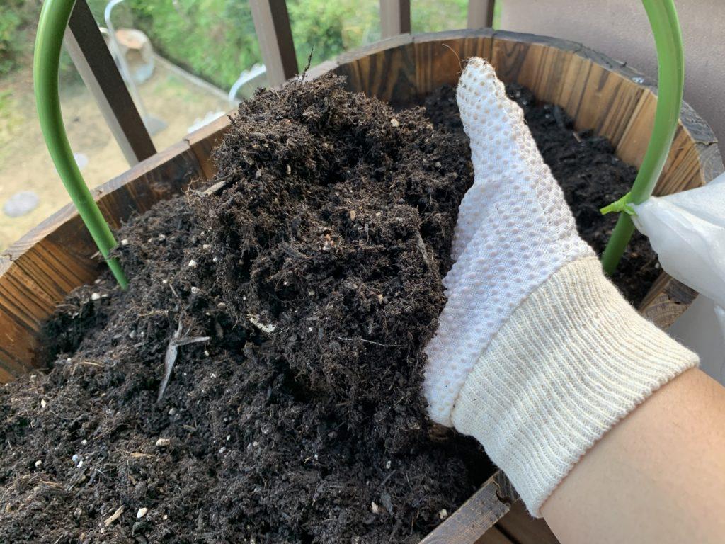 手袋をした手で土を持つ様子