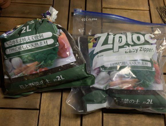ジップロックに入れた培養土と輪ゴムで縛った培養土の袋
